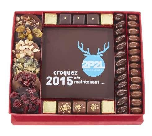 Boite impression et assortiment de chocolats / De 30 à 50 € HT : cadeau chocolat fin d'année